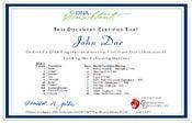 DNA Fingerprint Certificate of Testing